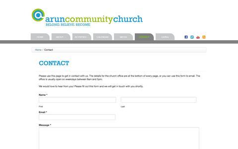 Screenshot of Contact Page aruncommunitychurch.com - Arun Community Church   Contact - captured Sept. 30, 2014