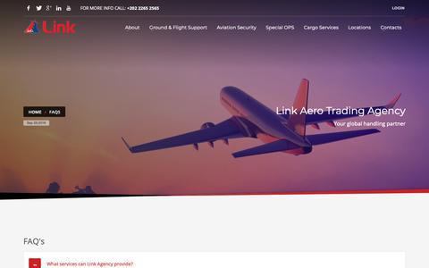 Screenshot of FAQ Page linkagency.com - FAQs - Link Aero Trading Agency - captured Sept. 29, 2018