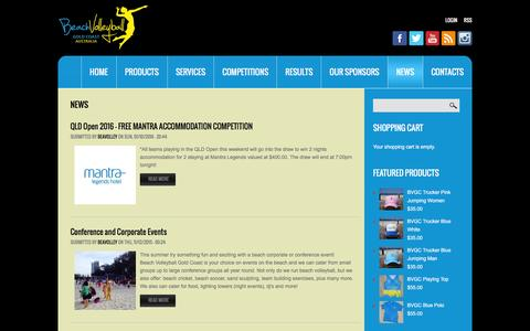 Screenshot of Press Page beachvolleyballgoldcoast.com - News | Beach Volleyball Gold Coast - captured Feb. 17, 2016