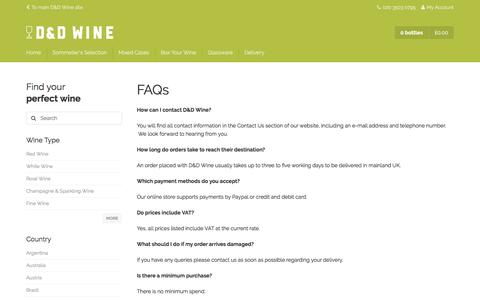 Screenshot of FAQ Page danddwineshop.com - FAQs | D&D Wine - captured March 9, 2016