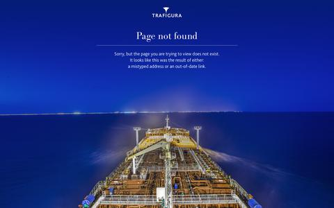 Screenshot of Locations Page trafigura.com - Page not found - captured Aug. 18, 2019