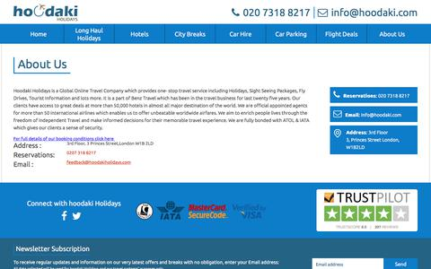 Screenshot of About Page hoodakiholidays.com - About Us | hoodaki Holidays - captured Sept. 20, 2017
