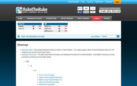 Screenshot of Site Map Page raketherake.com - RakeTheRake - Online Poker Rakeback and Poker Room Cash Back - captured Oct. 26, 2014
