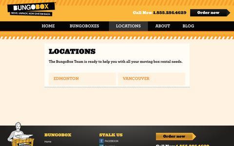 Screenshot of Locations Page bungobox.ca - Locations   Bungobox - captured Oct. 7, 2018