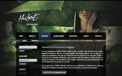 Screenshot of Services Page hubertgem.com - Jewelry and Gemstone Repair - captured Oct. 27, 2014