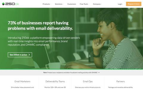 Email deliverability, blacklist monitoring, inbox placement | 250ok