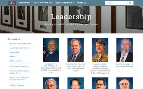 Screenshot of Team Page gpo.gov - Leadership - captured Sept. 21, 2018