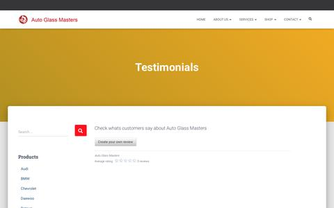 Screenshot of Testimonials Page autoglassmasters.in - Testimonials : Client Review about Auto Glass Masters Gurgaon - captured Aug. 15, 2019
