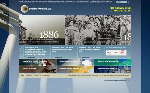 Screenshot of Home Page buckeye.com - Welcome to Buckeye Partners, L.P. - captured Oct. 5, 2014