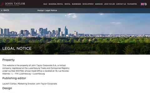 Screenshot of Terms Page john-taylor.com - Legal notice | John Taylor - captured June 24, 2017