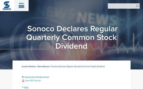 Screenshot of Press Page sonoco.com - Sonoco Declares Regular Quarterly Common Stock Dividend | Sonoco - captured Nov. 5, 2019