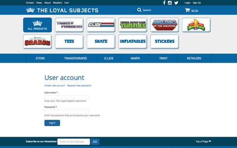 Screenshot of Login Page theloyalsubjects.com - User account | The Loyal Subjects - captured Dec. 22, 2016