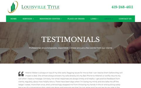 Screenshot of Testimonials Page louisvilletitle.com - Testimonials - Toledo, Oregon, Maumee | Louisville Title - captured Oct. 31, 2018