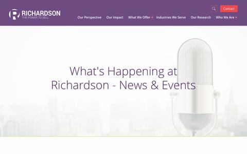 Screenshot of Press Page richardson.com - What's Happening at Richardson Sales Training - News & Events - captured Sept. 30, 2017