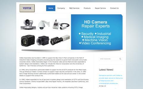 Screenshot of Home Page vidtek.com - Vidtek Associates Inc. | Digital Video Camera Design and Repair Services - captured Oct. 7, 2014