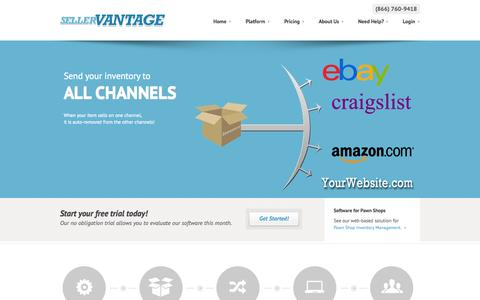 Screenshot of Home Page sellervantage.com - SellerVantage - Multi-Channel Consignment and Inventory Management for Online Sellers - captured Sept. 23, 2014