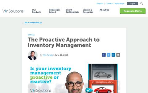 Screenshot of Blog vinsolutions.com - VinSolutions - Blog - Proactive Approach to Inventory Management - captured Dec. 3, 2019