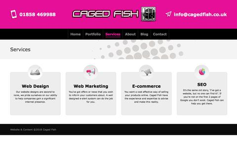 Screenshot of Services Page cagedfish.co.uk - Services – Web Design Leicester - captured July 15, 2018