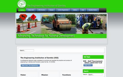 Screenshot of Home Page eiz.org.zm - Home - captured Oct. 6, 2014