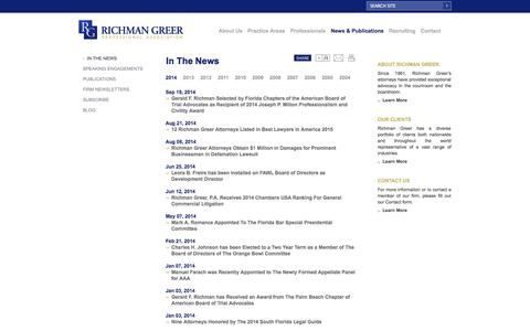Screenshot of Press Page richmangreer.com - Richman Greer In The News - captured Oct. 26, 2014