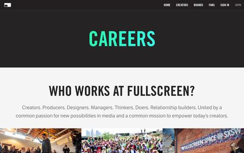Screenshot of Jobs Page fullscreen.com - Careers - Fullscreen - captured Dec. 9, 2015
