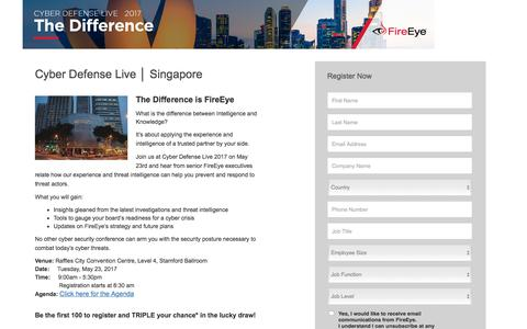 Screenshot of Landing Page fireeye.com - FireEye |FireEye Cyber Defense Live Singapore 2017: The Difference - captured Sept. 12, 2018