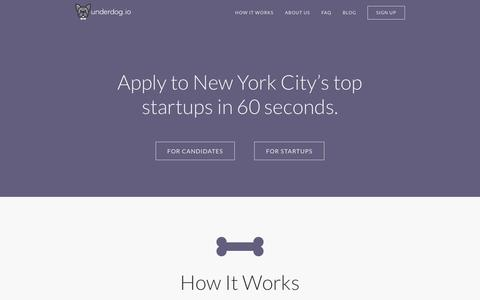Screenshot of Home Page underdog.io - Underdog.io: Get a job at an NYC startup - captured Sept. 23, 2014