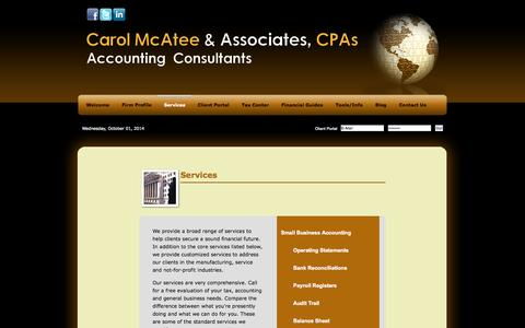 Screenshot of Services Page accpas.com - St Petersburg, FL CPA / Accounting Consultants - captured Oct. 2, 2014