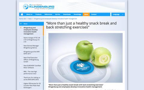 Screenshot of Press Page klingenburg-usa.com - Klingenburg and employees develop innovative health management: Klingenburg USA, LLC - captured Sept. 20, 2018