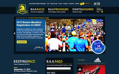 Screenshot of Home Page baa.org - Boston Athletic Association - captured Sept. 23, 2014