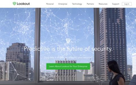 Screenshot of Home Page lookout.com - Mobile Security | Lookout, Inc. - captured Feb. 2, 2016
