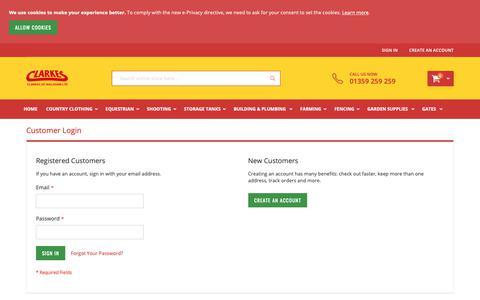 Screenshot of Login Page clarkesofwalsham.co.uk - Customer Login - captured Sept. 28, 2018