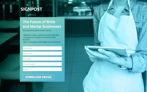 Screenshot of Landing Page signpost.com - Signpost | Future of Brick & Mortar eBook - captured March 14, 2016