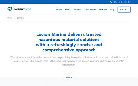 Screenshot of Services Page lucionmarine.com - Marine Hazardous Material Solutions & Services | Lucion Marine - captured July 24, 2018