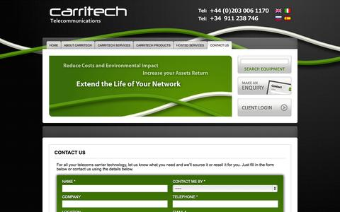 Screenshot of Contact Page carritech.com - Contact Us - Carritech Telecommunications - captured Oct. 2, 2014