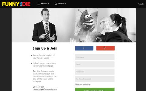 Screenshot of Signup Page funnyordie.com - Join Funny or Die - captured July 20, 2014