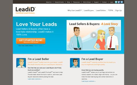 Screenshot of Home Page leadid.com - LeadiD Lead Certification, Lead Seller Solutions, Lead Buyer Solutions | LeadiD - captured July 11, 2014