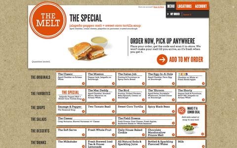 Screenshot of Menu Page themelt.com - The Melt | Menu - captured Sept. 17, 2014