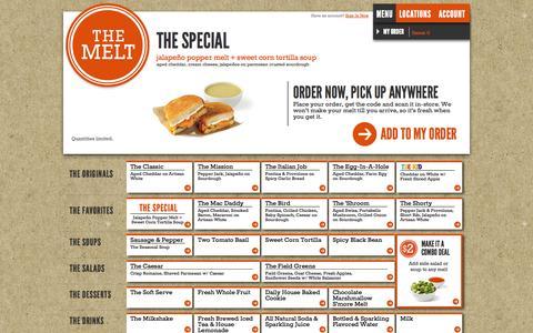 Screenshot of Menu Page themelt.com - The Melt | Menu - captured Sept. 17, 2014