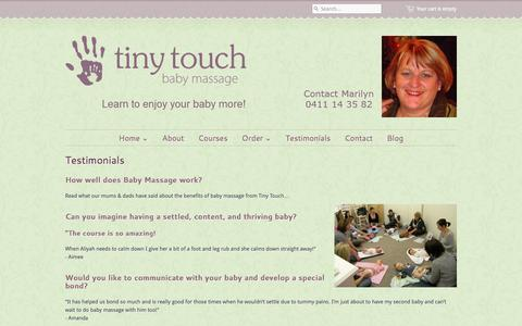 Screenshot of Testimonials Page tinytouch.com.au - Tiny Touch Baby Massage — Testimonials - captured Oct. 9, 2014