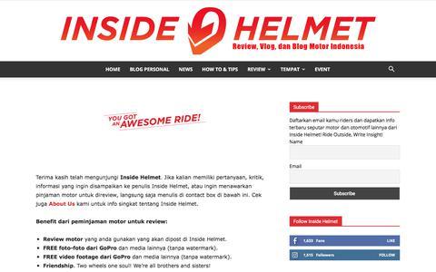 Screenshot of Contact Page insidehelmet.com - Contact Us   Inside Helmet - captured Sept. 19, 2018