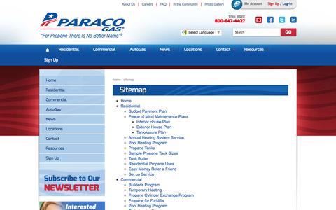 Screenshot of Site Map Page paracogas.com - Sitemap - captured Oct. 10, 2014
