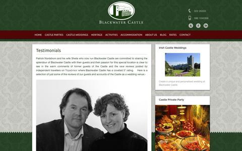 Screenshot of Testimonials Page blackwatercastle.com - Reviews of Ireland's top castle for rent   blackwatercastle - captured Aug. 2, 2018