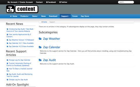 Screenshot of Support Page zcontent.net - Support - captured June 10, 2017