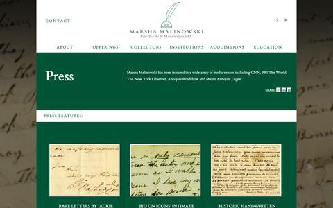 Screenshot of Press Page marshamalinowski.com - Press Archive - Marsha Malinowski Fine Books & Manuscripts LLC - captured Oct. 17, 2018