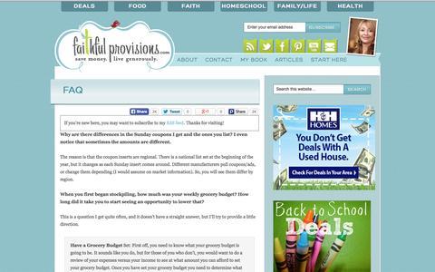 Screenshot of FAQ Page faithfulprovisions.com - FAQ - Faithful Provisions - captured Sept. 25, 2014
