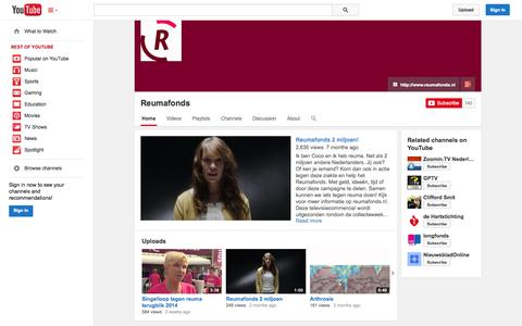 Screenshot of YouTube Page youtube.com - Reumafonds  - YouTube - captured Oct. 25, 2014