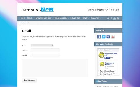 Screenshot of Contact Page happinessisnow.org - E-mail - Happiness is NOW - captured Oct. 2, 2014