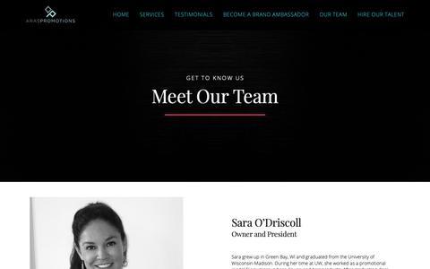 Screenshot of Team Page araspromotions.com - Team - Aras Promotions - captured Nov. 6, 2018
