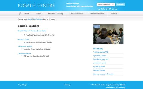 Screenshot of Locations Page bobath.org.uk - Course locations — The Bobath Centre - captured Oct. 5, 2014